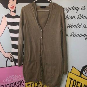 BCBG olive green cashmere hooded cardigan L